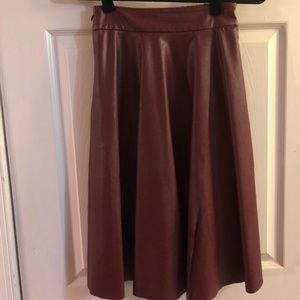 Maroon/burgundy pleather midi skirt